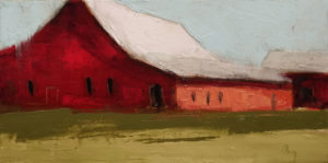 "SOLD ""Grange Rouge No. 2"" (Red Barn No. 2) by Robert P. Roy 8 x 16 - oil $570 Unframed"