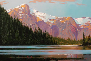 """""""Late Afternoon, McCannell Lake"""" (1998) by Robert Genn 20 x 30 - acrylic $11,400 Unframed"""