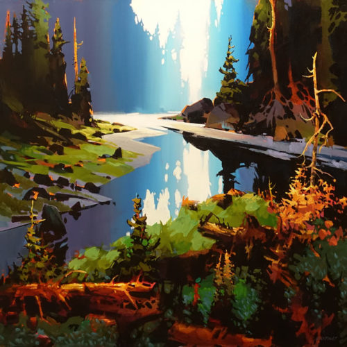 """SOLD """"Manganese Reflection,"""" by Michael O'Toole 36 x 36 - acrylic $5400 (artwork continues onto edges of wide canvas wrap)"""
