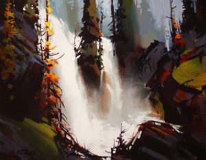 """SOLD """"Twin Falls,"""" by Michael O'Toole 14 x 18 - acrylic $1415 Unframed"""