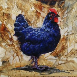 """SOLD """"Little Black Hen,"""" by Janice Robertson 12 x 12 - acrylic $730 (thick canvas wrap)"""