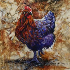 """SOLD """"Little Red Hen,"""" by Janice Robertson 12 x 12 - acrylic $730 (thick canvas wrap)"""