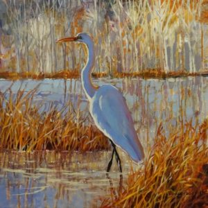 """""""Snowy Egret,"""" by Janice Robertson 20 x 20 - acrylic $1550 (thick canvas wrap)"""