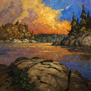 """SOLD """"Wood Buffalo Eve,"""" by Phil Buytendorp 30 x 30 - oil $3200 Unframed"""