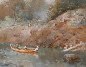 """SOLD """"A Green Pool, French River, Canada"""" (1864) by Frances Anne Hopkins 18 x 22 1/2 - watercolour"""