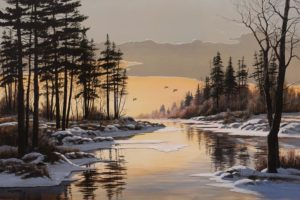 """""""Over a Golden Pond,"""" by Bill Saunders 24 x 36 - acrylic $4400 Unframed"""
