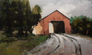 "SOLD ""Pont Couvert No. 3,"" (Covered Bridge No. 3) by Robert P. Roy 36 x 60 - acrylic $3650 (thick canvas wrap)"