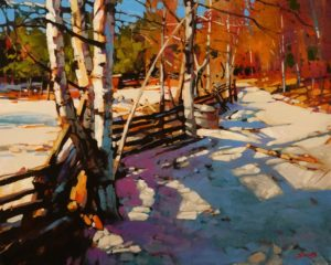"SOLD ""Split Rail Fence (at 108 Ranch, B.C.)"" by Mike Svob 16 x 20 - acrylic $2200 Unframed"