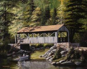 """""""Under the Covered Bridge,"""" by Bill Saunders 16 x 20 - acrylic $1900 Unframed"""