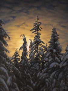 "SOLD ""Winter Night Sky,"" by Ray Ward 12 x 16 - oil $1425 (unframed panel with 1 1/2"" edges)"