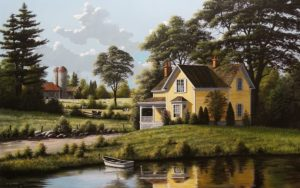 """SOLD """"Yellow House,"""" by Bill Saunders 30 x 48 - acrylic $8160 Unframed"""