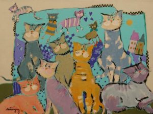 """SOLD """"The Bizarre Cats,"""" by Claudette Castonguay 12 x 16 - acrylic $540 Unframed"""