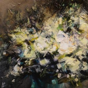 """SOLD """"In the Past,"""" by William Liao 12 x 12 - acrylic $575 (unframed panel with 1 1/2"""" edges)"""
