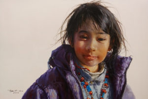 """SOLD """"Quiet Contentment,"""" by Donna Zhang 24 x 36 - oil $6050 (thick canvas wrap)"""