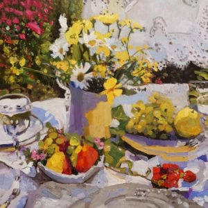 "SOLD ""Sunlight with Still Life,"" by Paul Healey 20 x 20 - oil $1335 Unframed"