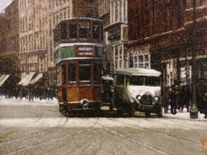 """SOLD """"Tracks in the Snow,"""" by Alan Wylie 12 x 16 - oil $2640 Unframed"""