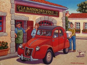 """A Visit to the Local Wine Merchant,"" by Michael Stockdale 9 x 12 - acrylic $500 Unframed"