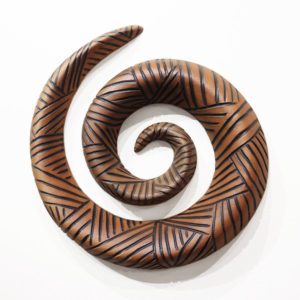 "wall-hang Spiral (LR-264) by Laurie Rolland hand-built ceramic - 11"" (W) x 2"" (H) $260"