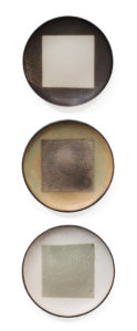 "SOLD Continuum Plates (LR-266) by Laurie Rolland hand-built ceramic - 10"" (W) each $350 (set)"