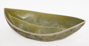 "Vessel (LR-269) by Laurie Rolland hand-built ceramic - 18"" (L) x 9 1/2"" (W) x 4 1/2"" (H) $400"