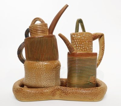 """Teapots with tray (LR-272) by Laurie Rolland hand-built ceramic - 11"""" (H) x 11"""" (L) $525"""