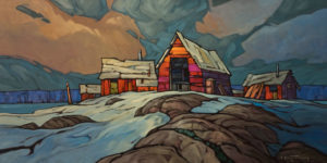 """SOLD """"Northern Suburb,"""" by Phil Buytendorp 18 x 36 - oil $2270 Unframed"""