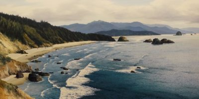 """SOLD """"West Coast Breezes,"""" by Merv Brandel 24 x 48 - oil $5500 (artwork continues onto edges of wide canvas wrap)"""