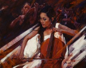 "SOLD ""Cellist in White,"" by Clement Kwan 11 x 14 - oil $1900 Unframed"