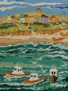 """SOLD """"The Fishing Season Begins,"""" by Claudette Castonguay 18 x 24 - acrylic $1060 Unframed"""