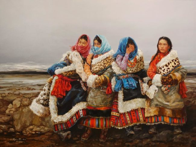 """""""Roadside Chat,"""" by Donna Zhang 36 x 48 - oil $9750 Unframed"""