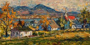 "SOLD ""Village de Sainte Famille, Île d'Orléans,"" by Raynald Leclerc 18 x 36 - oil $3000 Unframed"