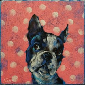 """SOLD """"Coquette,"""" by Angie Rees 6 x 6 - acrylic $225 (unframed panel with 1 1/2"""" edges)"""