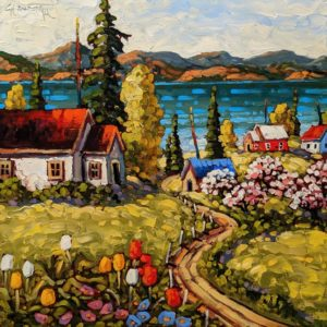 """SOLD """"Lakeside Spring, Okanagan,"""" by Rod Charlesworth 16 x 16 - oil $1570 (thick canvas wrap)"""
