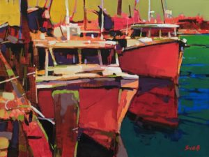 "SOLD ""Lobster Boats, Nova Scotia,"" by Mike Svob 12 x 16 – acrylic $1415 Unframed"