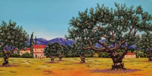 """Olive Grove in Provence,"" by Michael Stockdale 12 x 24 - acrylic $865 Unframed"