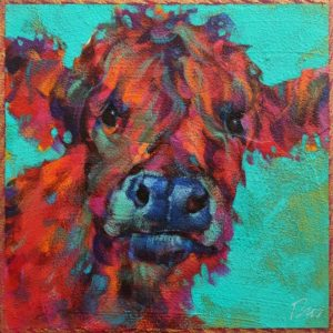 """SOLD """"Rupert,"""" by Angie Rees 6 x 6 - acrylic $225 (unframed panel with 1 1/2"""" edges)"""