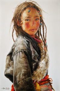 """SOLD """"Sangmu Looking Back,"""" by Donna Zhang 24 x 36 - oil $6050 Unframed"""