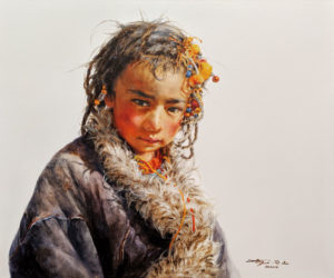 """SOLD """"Under the Azure Sky,"""" by Donna Zhang 30 x 36 - oil $6350 Unframed"""