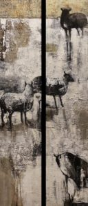 """Upland Yarns,"" by Lee Caufield diptych – each piece 10 x 48 – acrylic $2000 (thick canvas wraps without frame)"