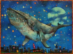 """SOLD """"A Whale of a Time,"""" by Angie Rees 6 x 8 - acrylic $300 (unframed panel with 1 1/2"""" edges)"""