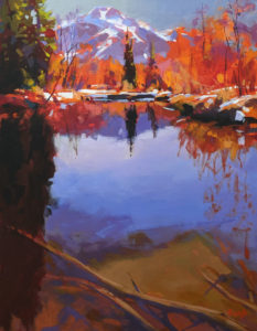"SOLD ""Whistler Peak (from the River of Golden Dreams),"" by Mike Svob 14 x 18 - acrylic $1840 Unframed"