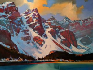 """Afternoon Mists (Moraine Lake, Alta.)"" by Mike Svob 36 x 48 - acrylic $9865 Unframed"