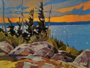 """SOLD """"Catching the Last Rays (North Arm, Great Slave Lake)"""" by Graeme Shaw 9 x 12 - oil $580 Unframed"""