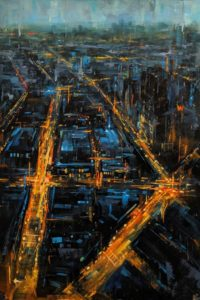 """SOLD """"City by Night,"""" by William Liao 24 x 36 - acrylic $2650 Unframed Silver Medal in 2017 show, Federation of Canadian Artists"""
