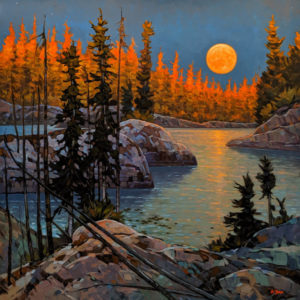 """""""Moon Rise,"""" by Graeme Shaw 48 x 48 - oil $6735 (artwork continues onto edges of wide canvas wrap)"""