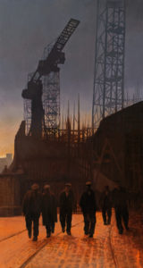 """Night Shift's Over,"" by Alan Wylie 16 x 30 - oil $5435 Unframed"