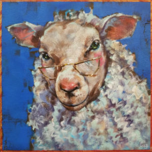 """SOLD """"Baaad Eyesight,"""" by Angie Rees 8 x 8 - acrylic $425 (unframed panel with 1 1/2"""" edges)"""