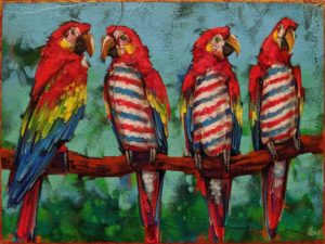 """SOLD """"Barbershop Quartet,"""" by Angie Rees 9 x 12 - acrylic $650 (unframed panel with 1 1/2"""" edges)"""