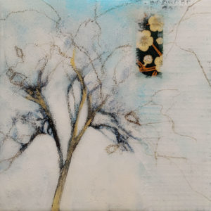 """SOLD """"A Deep Longing,"""" by Nikol Haskova 6 x 6 - mixed media, high-gloss finish $380 (unframed panel with thick edges)"""