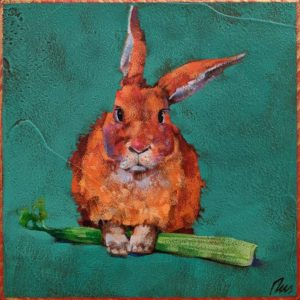 """SOLD """"Finders Keepers,"""" by Angie Rees 8 x 8 - acrylic $425 (unframed panel with 1 1/2"""" edges)"""